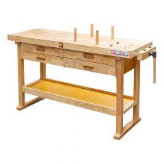 Höyläpenkki neljällä vetolaatikolla. Työtaso on valmistettu kumipuusta.