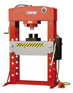 Järeä käsi/paineilmakäyttöinen konepajapuristin asennus- ja korjaustöihin. Sivusiirto työsylinterissä.