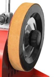 Nahkalaikka Holzmann NTS250 hiomakoneeseen. Mitat 250 x 30 mm, max. pyörintänopeus 150 rpm.