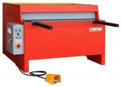 Sähkökäyttöinen levyleikkuri 1250 mm leikkausleveydellä ja 30 iskua/min. Voidaan leikata max. 3 mm levyä.