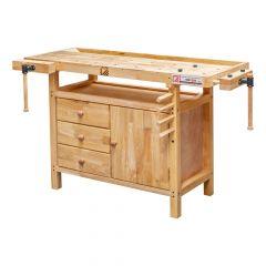 Höyläpenkki kolmella laatikolla ja kaapilla. Työtaso on valmistettu kumipuusta.