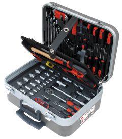 Työkalulaukku monipuolisella valikoimalla työkaluja. Kunnollisessa salkussa työkalut pysyvät järjestyksessä. Vankka laukku on valmistettu kulutusta ja kosteutta kestävästä ABS-muovista, ja siinä on pyörät, vetokahva ja kallistuslukko.