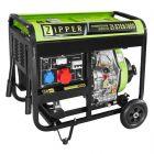 Dieselkäyttöinen generaattori starttimoottorilla. Liitännät 1 x 230V ja 1 x 400V.